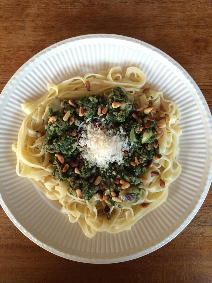 spaghetti met gehakt en spinazie